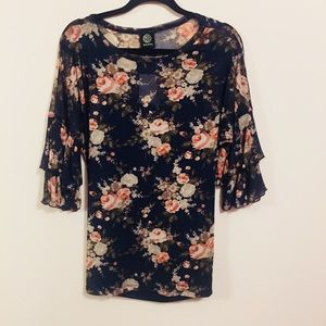 Bobeau NWT Sheer Navy Ruffle Sleeve Floral Top